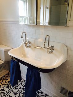 Kohler Brockway Sink perfect for two teen boys. Thanks Plumbers Supply & Gary Koestel Koestel Plumbing Services Pool House Bathroom, Small Basement Bathroom, Upstairs Bathrooms, Downstairs Bathroom, Bathroom Renos, Master Bathroom, Bathroom Plumbing, Bathroom Ideas, Trough Sink Bathroom