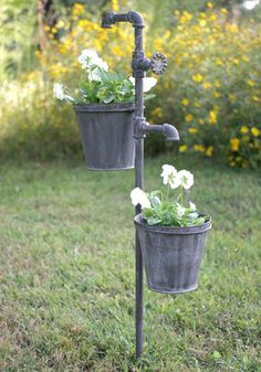 Faucet Garden Stake with Two Planters-This double plant holder stake will hold two plants at the same time. Two 7 diameter flower pots are included. Flower Planters, Garden Planters, Hanging Planters, Flower Pots, Mailbox Garden, Zinc Planters, Lawn And Garden, Garden Art, Organic Gardening