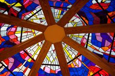 The beautiful stained glass work at Vienna Baptist Church.
