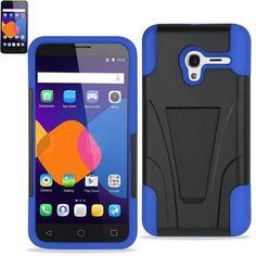 Reiko Silicon Case+Protector Cover For Alcatel Onetouch Pixi 3 (4.5inch) New Type Kickstand Navy Black