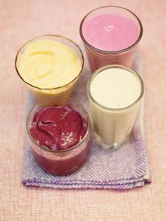 Smoothies are not only deliciously tasty but they're also perfect to have for breakfast, as they're full of goodness. Adding oats and nuts to them is great, because it helps slow down the absorption of the sugar from the fruit into your bloodstream, which gives you more energy for longer. The great thing about frozen fruit is that it's been picked at its best, at the right time, and hasn't been forced to grow out of season, like so much of the Frozen Fruit Smoothie, Healthy Smoothie, Fruit Smoothie Recipes, Smoothie Drinks, Fruit Recipes, Breakfast Smoothies, Kid Smoothies, Simple Smoothies, Frozen Breakfast