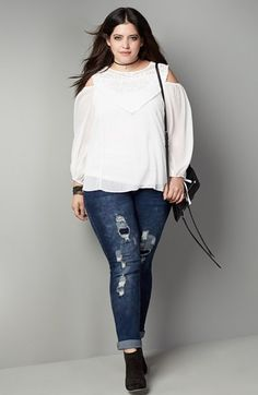 City Chic Top & Skinny Jeans Outfit (Plus Size) available at #Nordstrom
