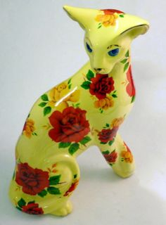 Paul Cardew Cool Catz Floral Ceramic Cat