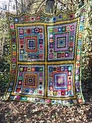crochet afghan throw lap rug blanket motif granny square Ravelry