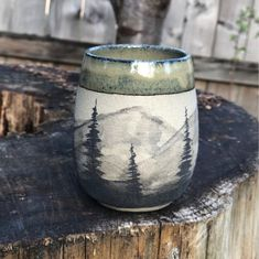 Handmade Pottery In The Pacific Northwest by AFpottery Stoneware Pottery Tumbler, Handmade, 'Watercolor Mountains' (Green) handmade pottery Pottery Mugs, Ceramic Pottery, Painted Pottery, Pottery Art, Pottery Cool, Slab Pottery, Thrown Pottery, Glazes For Pottery, Pottery Studio