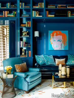 A custom peacock-blue lacquer by Fine Paints of Europe give depth and richness to the library of a Chicago townhouse. Designer Steven Gambrel dialed up color here and throughout the home to compensate for Chicago's long winters.   - HouseBeautiful.com
