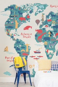 Squared Bookshelves Attached To Wall BookshelvesShelves - World map for kids room