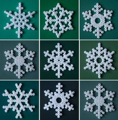Make your own snowflake Christmas decorations with white hama beads -a great weekend crafting project with the kids. Snowflake Photos, Snowflake Craft, Snowflake Pattern, Snowflake Ornaments, Snowflake Designs, Diy Snowflakes, Beaded Snowflake, Ornament Crafts, Hama Beads Design