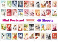 40 pcs fancy image mini postcard art watercolor by StickersKingdom