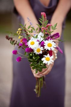 Wildflower Bridesmaid Bouquet. purple, greens, and daisies! http://www.mybigdaycompany.com/weddings.html