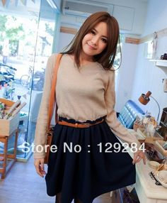 Fashion women's Autumn Spring knited patchwork waist belt included false two piece dress girl's lady  CN post $24.17