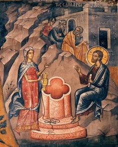 St. Photeine, the Samaritan woman, meets Christ at the well.