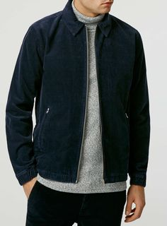 Navy Cord Harrington Jacket