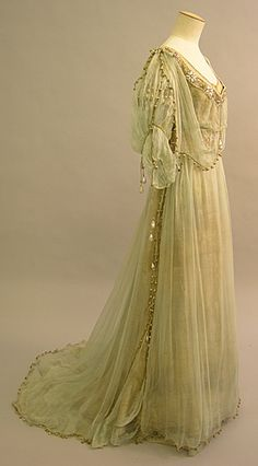 Art Nouveau Evening Dress 1908, British, Made of lame and silk chiffon