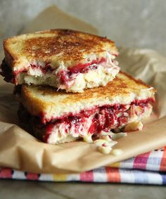 Save this recipe to make a Roasted Turkey, Cranberry + Brie Grilled Cheese Sandwich.