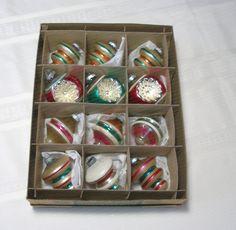 "Gorgeous Box of Vintage Shiny Brite Ornaments Set of 12 in original Shiny Brite ""Uncle Sam"" Box"