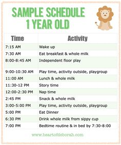 Sample Schedule for One Year Old - Parenting is difficult, but a schedule for your kids can be very helpful. Heart of Deborah: schedule Baby Schedule, Toddler Schedule, 1 Year Old Schedule, One Year Old Meal Plan, 1 Year Old Food, 1 Year Old Meal Ideas, Daycare Schedule, Toddler Routine, Summer Schedule