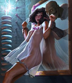 The Monster Is Always Behind You by stahlber on DeviantArt Fantasy Women, Fantasy Girl, Dark Fantasy, Arte Horror, Horror Art, Fantasy Characters, Female Characters, Pin Up, Chica Fantasy