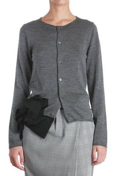 mid grey cardigan with frill at the hem - COMME DES GARÇONS Graue  Strickjacke, No b96ef87114