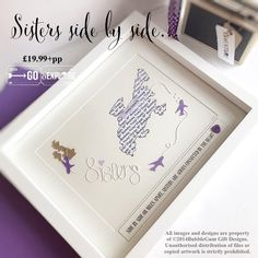 Little bit different this one, swapping the word love for Sisters for a very special sister who's moved abroad, aww a lovely keepsake ⭐️⭐️