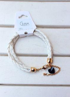 Kup mój przedmiot na #vintedpl http://www.vinted.pl/akcesoria/bizuteria/9987438-biala-bransoletka-zlote-zapiecie-czarny-krysztal-svarowsiego