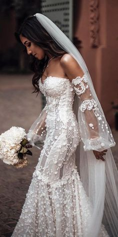 Long Sleeve Wedding, Wedding Dress Sleeves, Dresses With Sleeves, Mermaid Dress Wedding, Girl Sleeves, Fall Wedding Dresses, Bridal Dresses, Bridesmaid Dresses, Autumn Wedding