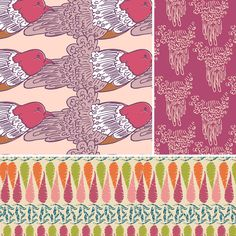 Besides bold stipes, floral and whimsical patterns are in. These textiles are from a new designer, Virginia Kamau. These textiles can be seen in children's and adults clothing, home goods, and accessories. Morgan R.
