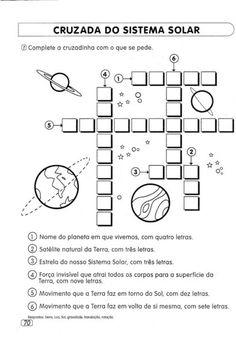 atividades sobre o sitema solar palavras cruzadas