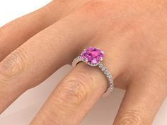 Yellow Solid Gold, wedding ideal ring, proposal rings, pink topaz rings - Engagement Rings