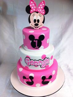 minnie tiered cake with candle - Google Search