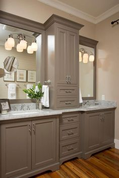 Farmhouse Bathroom Design Ideas, Pictures, Remodel and Decor Bathroom Renos, Laundry In Bathroom, Master Bathroom, Bathroom Ideas, Bathroom Cabinets, Bathroom Storage, Bath Ideas, Bathroom Interior, Shower Bathroom