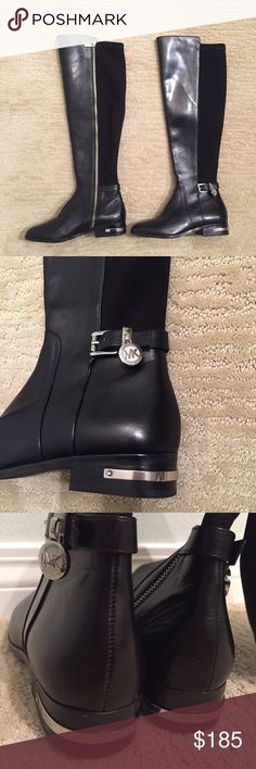 Michael Kors black leather boots Michael Kors black leather boots with silver detailing. Beautifully made & will go with just about anything! Size 5 Retail: $285. Michael Kors Shoes Winter & Rain Boots