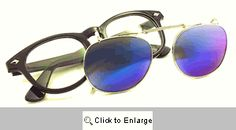 Flatbush Clip-On Wayfarer Glasses - 475 Black/Blue
