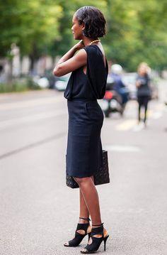 street style Shala Monroque black dress milan fashion week