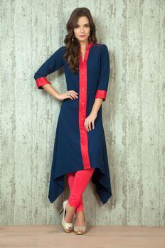 Asymmetric georgette kurti from #Benzer #Benzerworld #kurti #indowesternwear #womenswear
