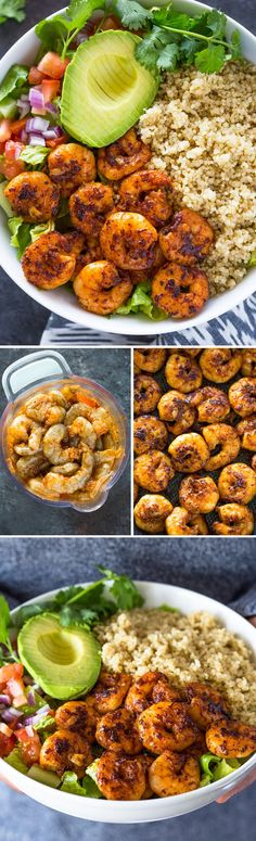 Healthy quinoa, avocado, and blackened Cajun shrimp bowls are loaded with flavor and texture. They make a light and fresh lunch or dinner! These shrimp, avocado Shrimp And Quinoa, Shrimp Avocado, Avocado Quinoa, Quinoa Bowl, Avocado Salad, Fish Recipes, Seafood Recipes, Dinner Recipes, Cooking Recipes