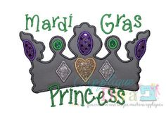 Mardi Gras Princess Embroidery Design Machine by theappliquediva