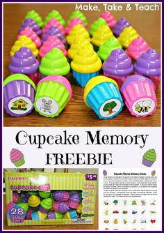 Fun little center activity for learning and practicing rhyme.  FREE printable for creating your own cupcake memory game.