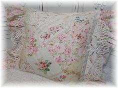 Cottage Rose Garden diamond patchwork pillow