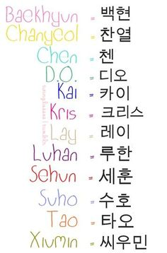EXO Names in Hangul -- First things I'm learning how to spell: