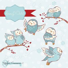 Snowy Owls Clipart by Verdigris Studios on @creativemarket