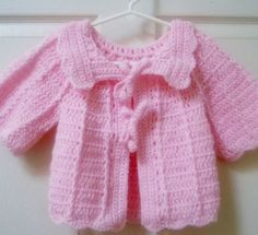 Crocheted Baby Sweater 3 to 6 Months Pink | raeoflight - Clothing on ArtFire