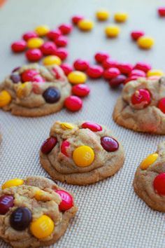 Peanut butter M&M cookies. They aren't joking, these don't spread at all