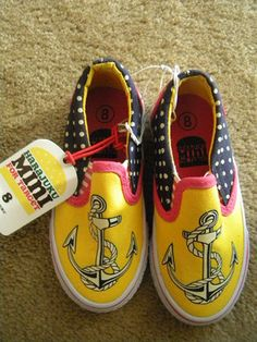 $9.99 Ebay Cute Nautical Slip On Tennis Shoes.......gotta get some for Tori