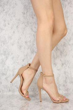 Nude Ankle Strap Closure Single Sole High Heels Nubuck Source by nesoce