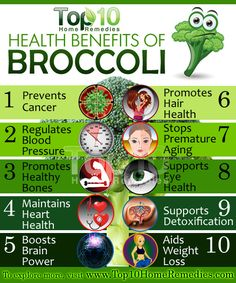 Top 10 Health Benefits of Broccoli. It contains a substantial amount of nutrients including vitamins A and C, folic acid, fiber, calcium, potassium and magnesium that are extremely good for your health. It is also rich in sulfur and several powerful antioxidants. Plus, this vegetable is very low in saturated fat and cholesterol. #broccoli