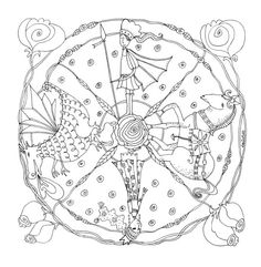 ☮ American Hippie Art ~ Coloring Page .. Mandala - Fairy Tale