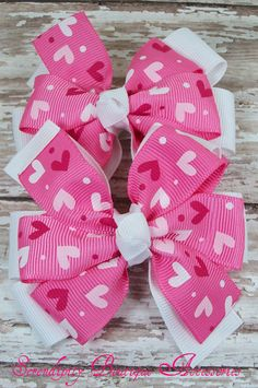 Valentines Day Bows - Set of 2 White Hot pink and Red Hearts Stacked Pinwheel Hair Bows