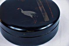 Laquered Paper Mache Box Japanese Krane Bamboo black round