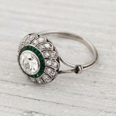 Image of .80 Carat Vintage Diamond and Emerald Engagement Ring